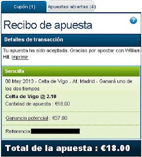 Apuestas Deportivas Rosberg Fútbol – Liga BBVA España Celta Atletico Madrid William Hill