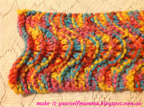 Knitting Pattern For Rainbow Scarf : make-it-yourself mumma: Rainbow Chunky Knit Lace Scarf
