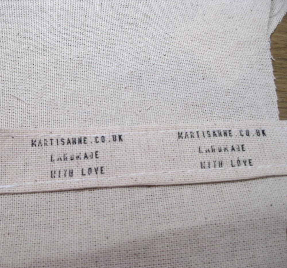 sewn stamped label right side up