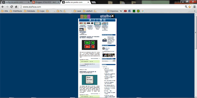 Exemplo diminuir Zoom da página de Internet