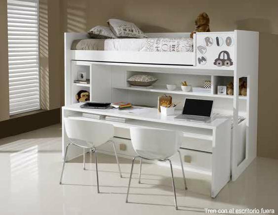 Literas blancas lacadas for Cama escritorio