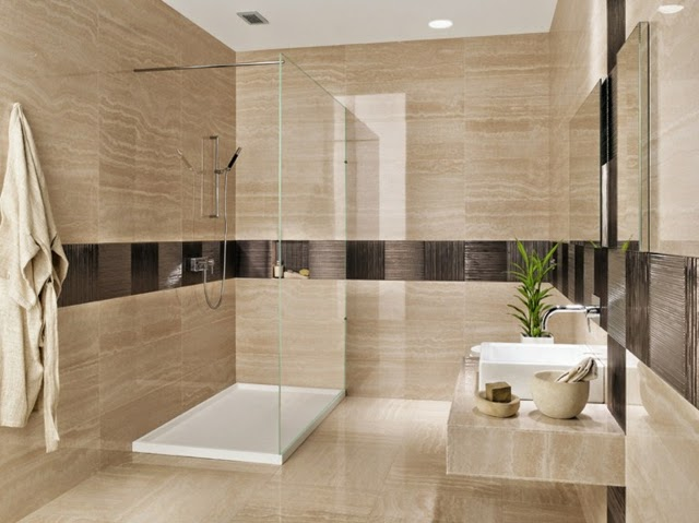Modern Bathroom In Neutral Colors With Tiles With Geometric Patterns