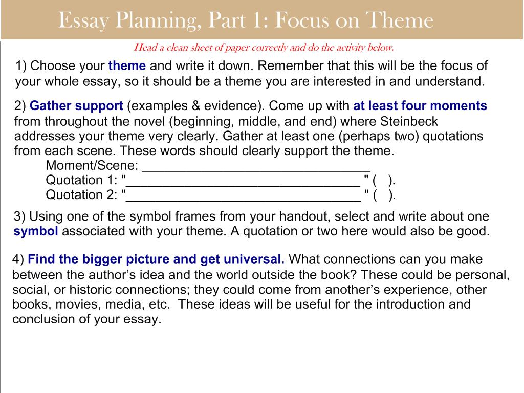mr staiano s freshman english blog 2012 focusing on theme in preparation for the analytical essay on steinbeck s of mice and men students should complete it for homework if they did not