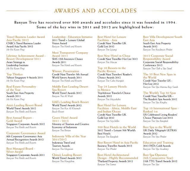 Banyan Tree Hotels e Resorts Awards