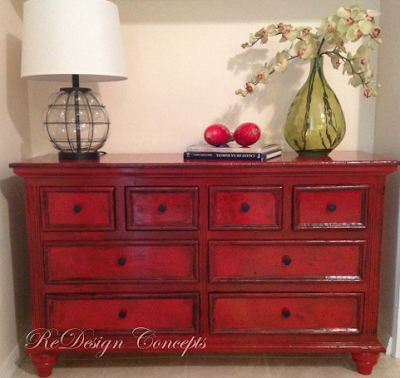 DISTRESSED RED LACQUER DRESSER
