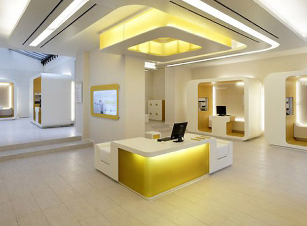 In Design Magz Modern Office Bank Interior Lighting Design