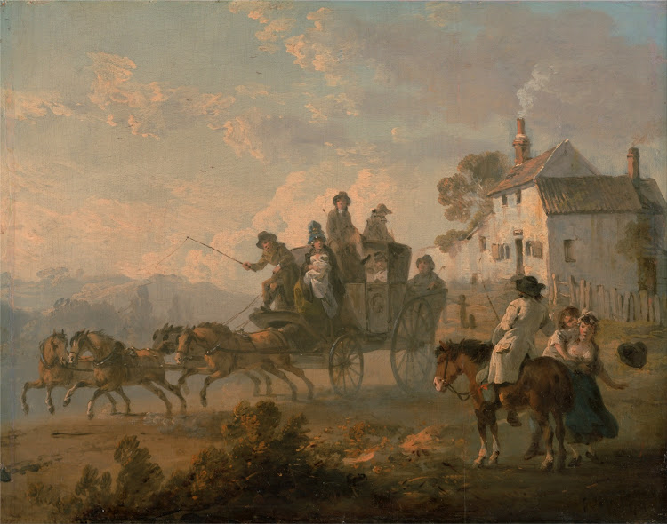 Julius Caesar Ibbetson - A Stage Coach on a Country Road