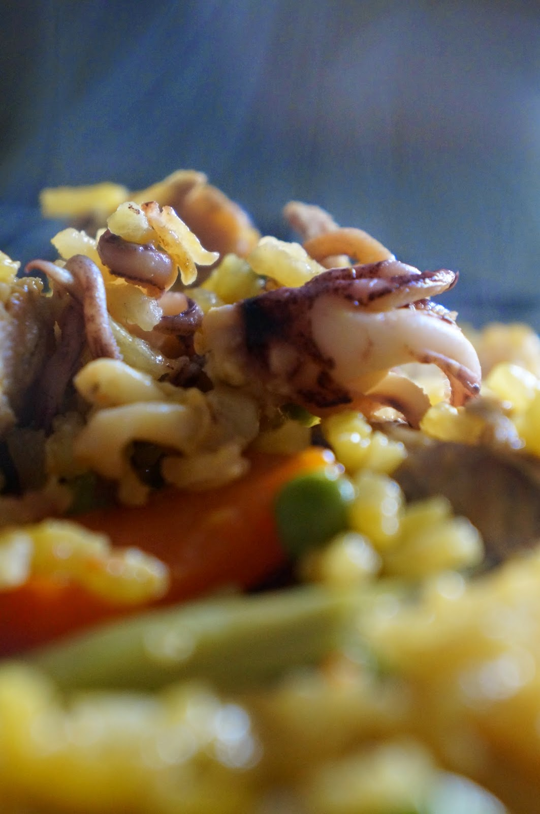 paella with octopus and rabbit