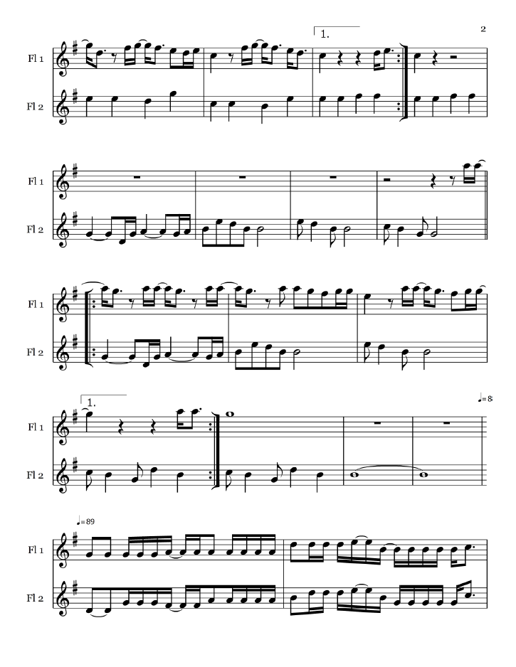 Free Pop Sheet Music: Welcome to the Black Parade - My Chemical Romance (Flute Duet)