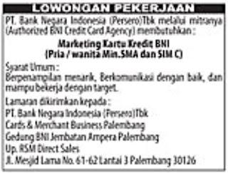 Lowongan Kerja Bank BNI (PT. Bank Negara Indonsia)