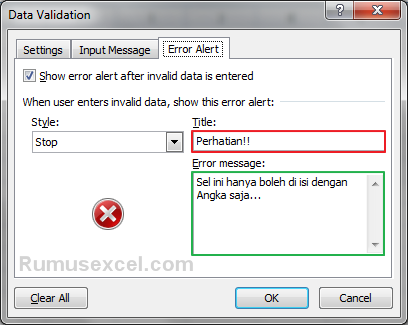 Alert Error Data Validation Excel