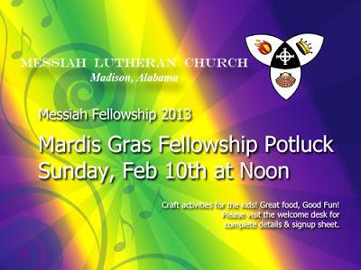 Mardi Gras Fellowship Potluck