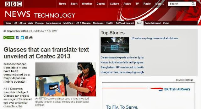 NTT Docomo Japan's Augmented Reality Real-Time Translator Glasses (What is a Google Glass?)