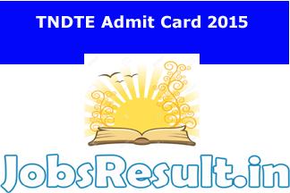 TNDTE Admit Card 2015