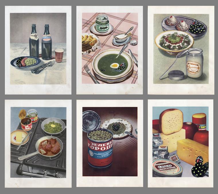 """Серия """"Кидо чревоугодник"""", 2015, Акрилни бои върху илюстрации от руска готварска книга"""