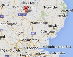 Google map showing the location of Ramsey, Huntingdonshire