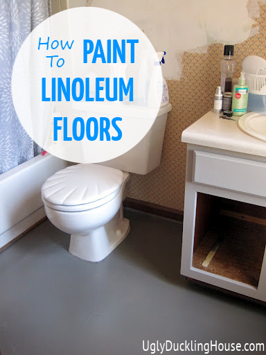 Painted vinyl linoleum floors the ugly duckling house for Paint over vinyl floors