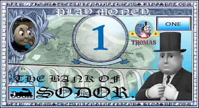 Steam tank Thomas the train and friends fake printable paper play money for kids number one 1 bill