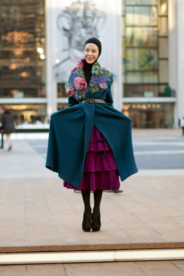 Ulyana Sergeenko, street style, new york fashion, new york womens fashion, new york fashion week street style, purple dress, blue overcoat with flowers