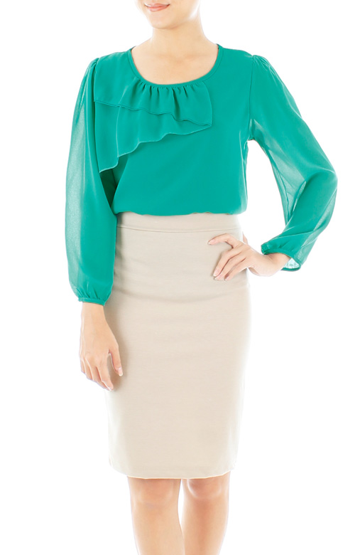 Persian Green Zig-Zag Long Sleeve Chiffon Blouse