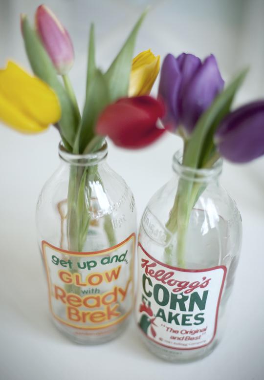 corn flakes and ready brek vintage milk bottle