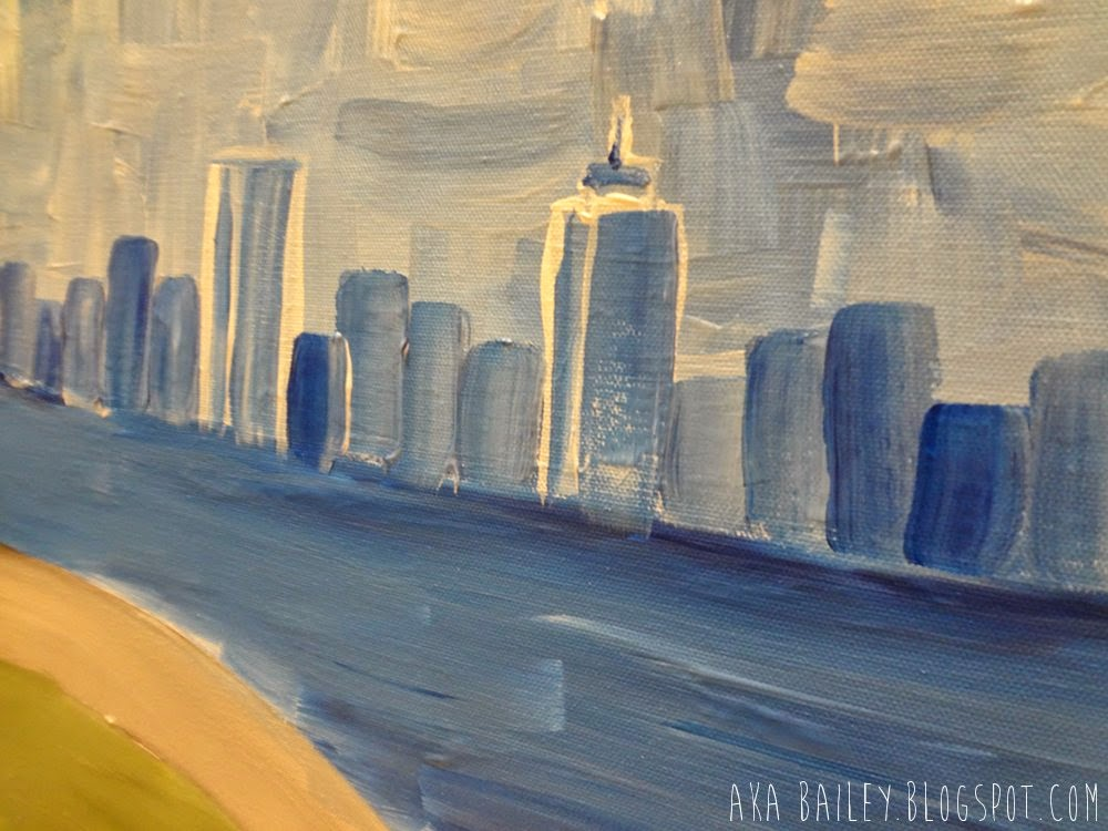 Boston skyline painting, John Hancock Tower, Prudential Center