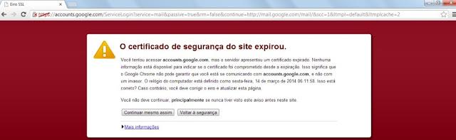 O certificado de segurança do site expirou