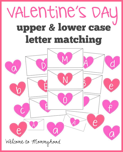 Free Valentine's Day Printables: Upper and lower case letter matching printable by Welcome to Mommyhood #valentinesdayactivities, #preschoolactivities, #montessori, #freeprintables