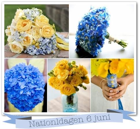 blommor nationaldagen, blå och gul bukett, blå och gul brudbukett, inspiration blått och gult