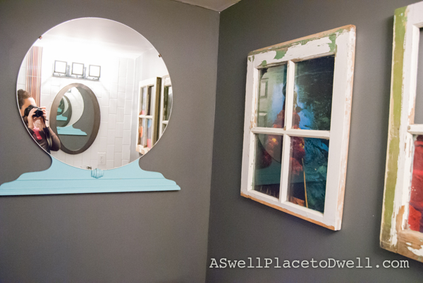 Hang a dresser mirror on the wall!  www.aswellplacetodwell.com