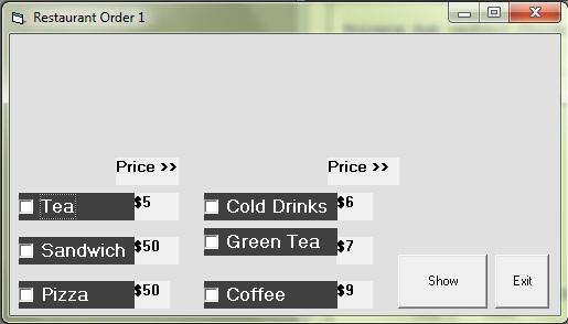 Example of checkbox