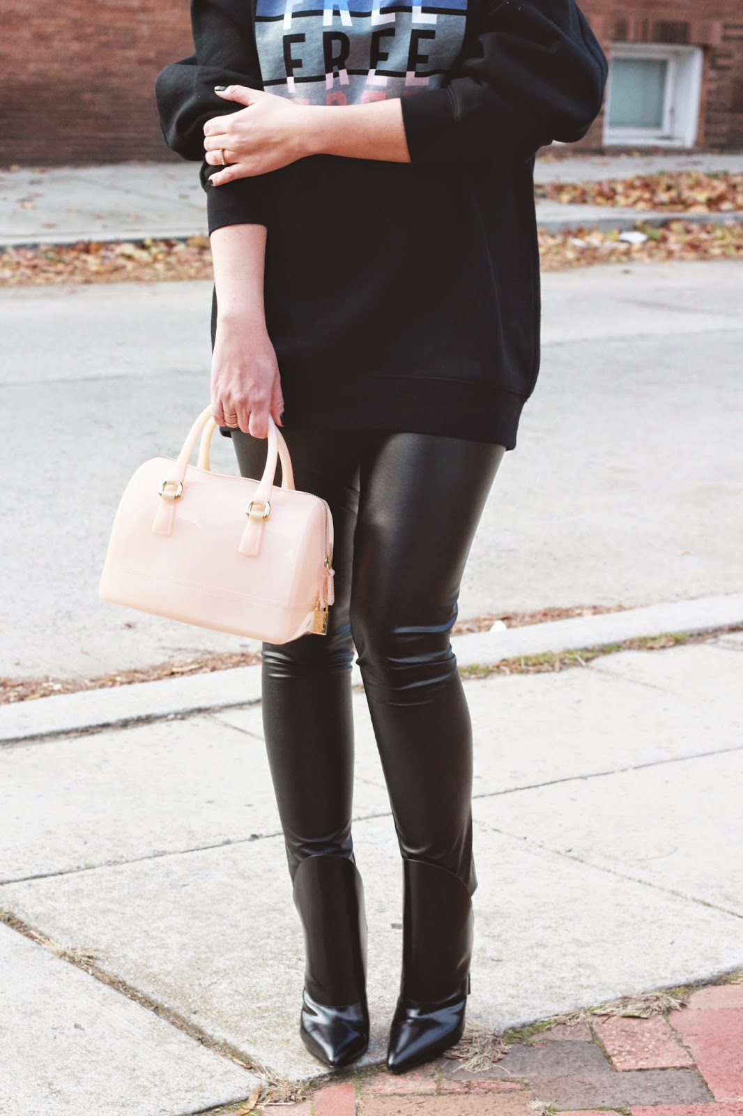 alexander wang, black, boots, coated, leather, leggings, dc, style, fashion, blog, furla candy bag