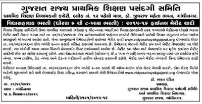 Vidyasahayak Special Bharti, 2015-16 (Std. 6 to 8)
