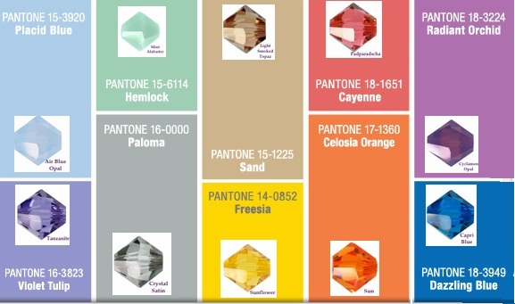 Pantone and Swarovski crystals Spring 2014 color chart
