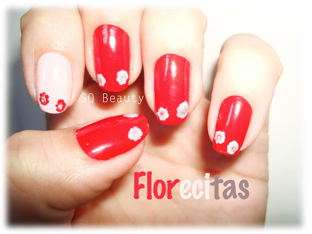 Nail Friday Rojo y flores manicura red and flowers manicure Silvia Quiros SQ Beauty
