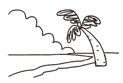 ビーチのイラスト「ヤシの木と入道雲」 線画