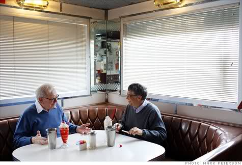 Warren Buffett and Bill Gates figuring out how to get billionaires  to give half.