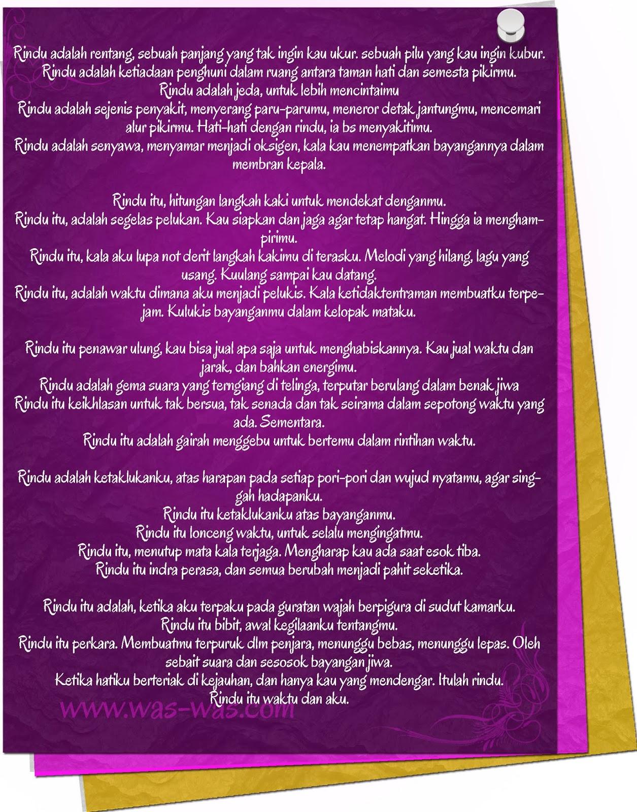 Puisi Rindu Kangen Romantis Was Was Com Was Was Com