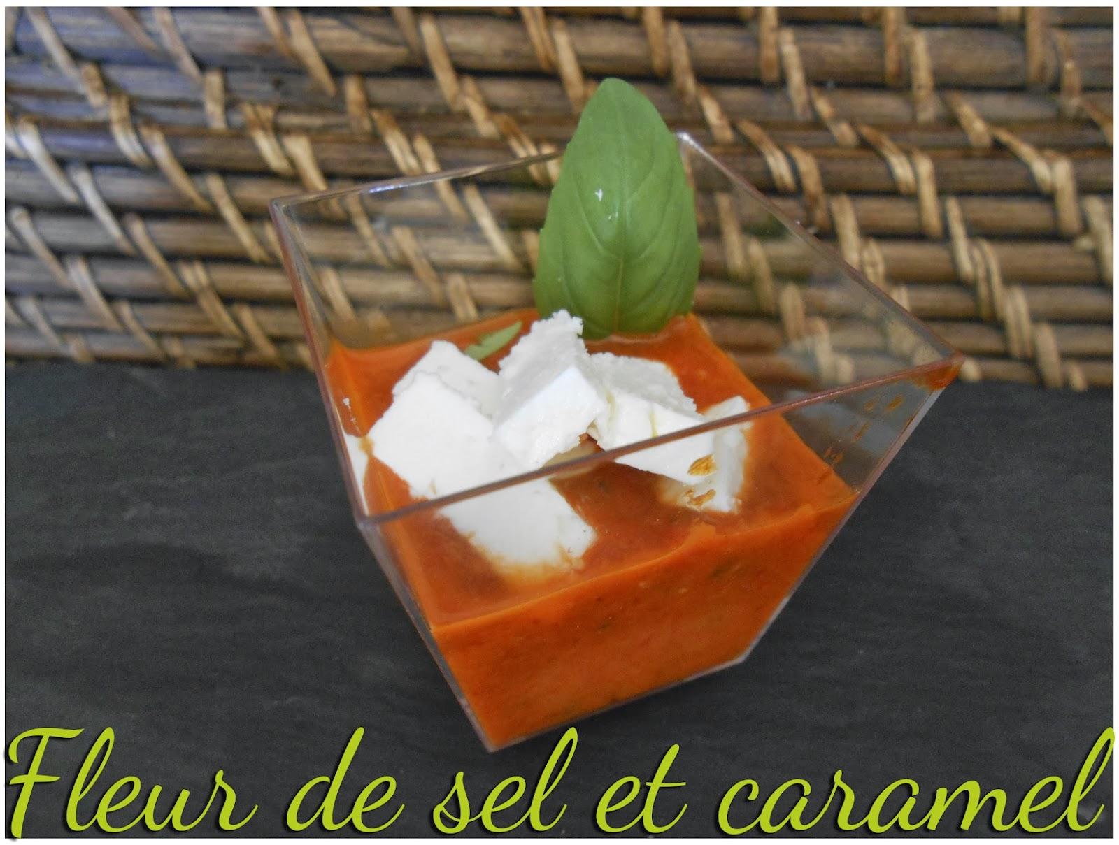 Gaspacho de poivron et feta en verrine