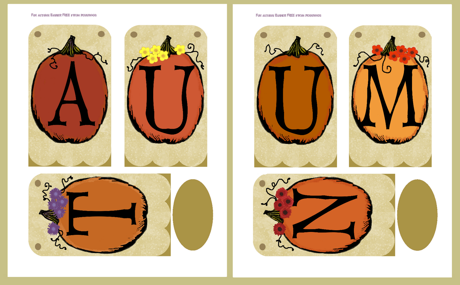 Adorable image within fall banner printable