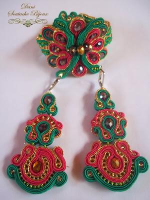 Conjunto em soutache composto por bracelete e brincos