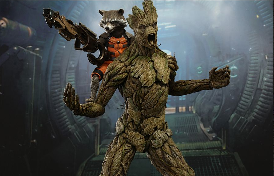 Action Figure Hot Toys Groot Rocket Racoon