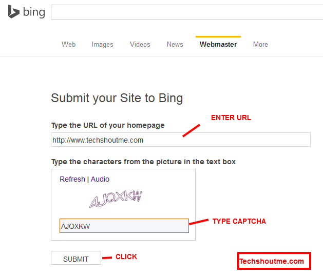 Website to the Search Engines Bing