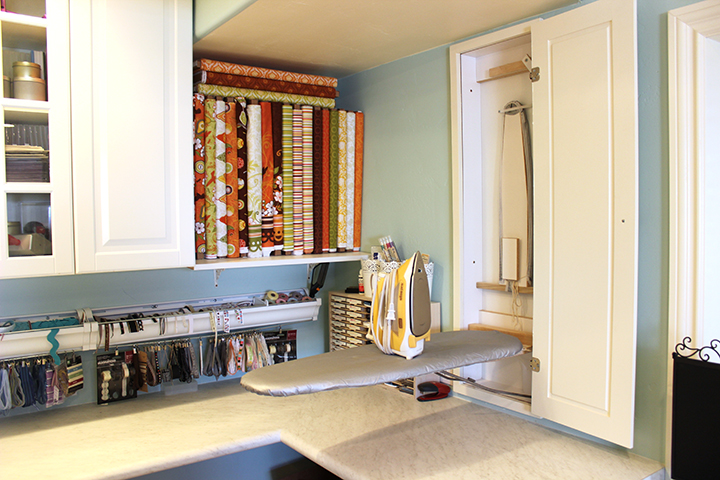 In the wall ironing board storage Samantha Walker studio remodel