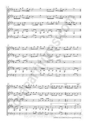 2   Partitura de 4 guitarras de Samba Lee Popular de Brasil Cuarteto de Guitarra con Partitura de Bajo Quartet Sheet Music for guitars Sheet music for guitar bass too