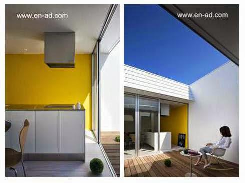 Dos imágenes de la casa: cocina y patio interior