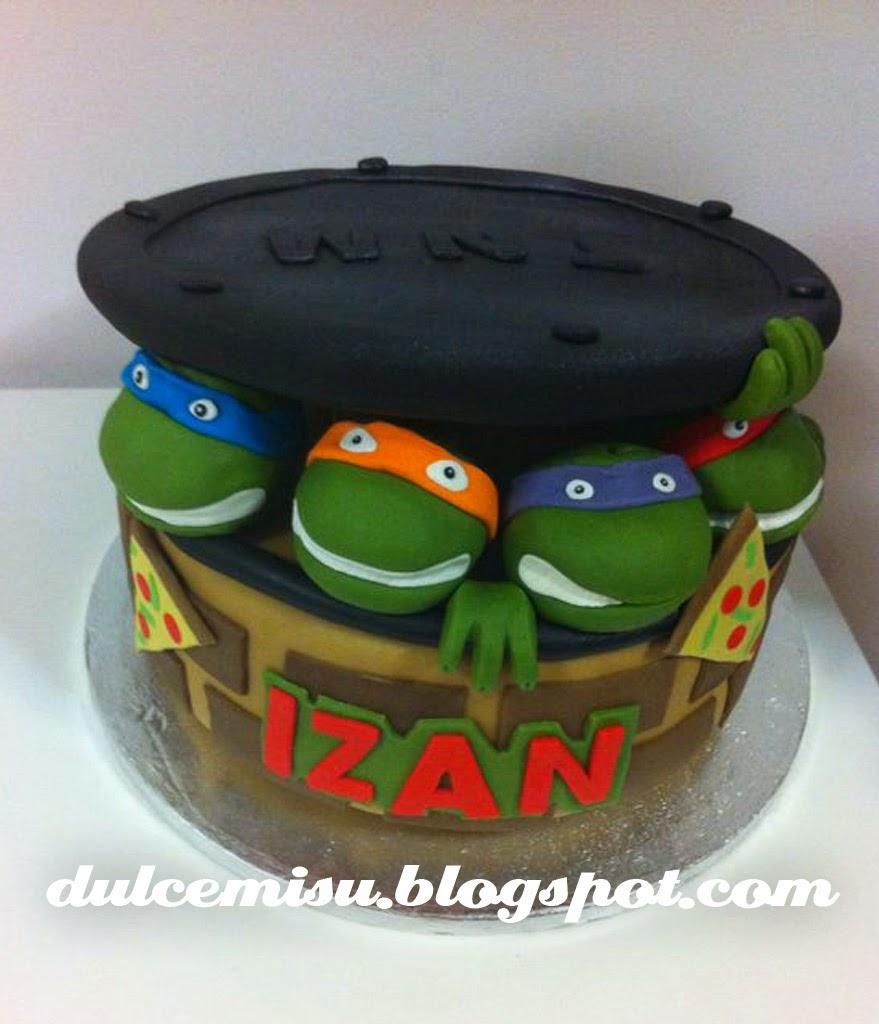 tarta, tortugas ninja, fondant, galleta, dulcemisu