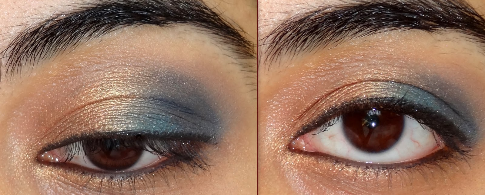 festive gold and blue eyeshadow tutorial peachesandblush