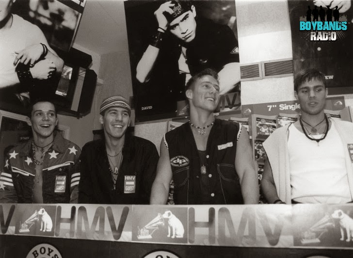 British boyband Bad Boys Inc. signing records at HMV in London in 1994.