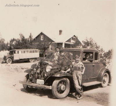 Unidentified boys and car in collection of Velma Davis Woodring